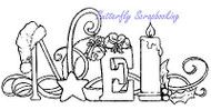Chirstmas NOEL Cling Unmounted Rubber Stamp MAGENTA C42218-M NEW