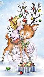 Christmas Angel on Reindeer Unmounted Rubber Stamp Wild Rose Studio # CL420 New