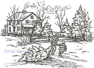 Christmas Bringing Home The Tree, Wood Mounted Rubber Stamp NORTHWOODS - P977