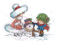 Christmas Build A Snowman Unmounted Rubber Stamp Wild Rose Studio CL341 New