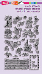 Christmas Charms Perfectly Clear Unmounted Rubber Stamps Set STAMPENDOUS New