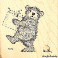 Christmas Deco Bear GRUFFIES Wood Mounted Rubber Stamp STAMPENDOUS, NEW - HGRQ01
