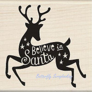 CHRISTMAS DEER Believe Wood Mounted Rubber Stamp by INKADINKADO 60-01127 NEW