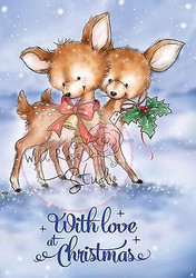 Christmas Deer Bluebell Love Unmounted Rubber Stamp Wild Rose Studio CL348 New