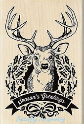 CHRISTMAS DEER WREATH Wood Mounted Rubber Stamp by INKADINKADO 60-01123 NEW