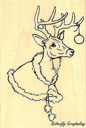 Christmas Deer, Wood Mounted Rubber Stamp STAMPENDOUS, NEW - P231