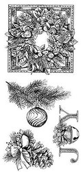 CHRISTMAS EVERGREEN Clear Unmounted Rubber Stamp Set INKADINKADO 60-31153 NEW