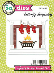 Christmas Fireplace Set Die Cutting Dies by Impression Obsession DIE207-ZZ New