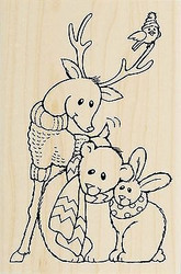 CHRISTMAS Furry Friends Deer Bear Wood Mounted Rubber Stamp STAMPENDOUS P270 New