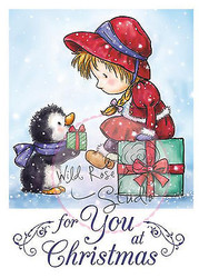 Christmas Girl Penguin Clear Unmounted Rubber Stamp Wild Rose Studio # CL426 New