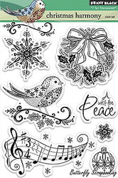 Christmas Harmony, Clear Unmounted Rubber Stamp Set PENNY BLACK - NEW, 30-194
