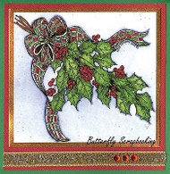 CHRISTMAS HOLLY & PINE RIBBON Wood Mounted Rubber Stamp NORTHWOODS PP9892 New