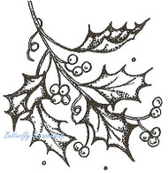 Christmas Holly Branch Wood Mounted Rubber Stamp Northwoods Rubber Stamp New
