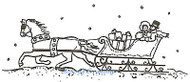 Christmas Horse And Small Sleigh, Wood Mounted Rubber Stamp NORTHWOODS - D1838