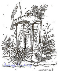 Christmas Lantern Cardinal Birds Wood Mounted Rubber Stamp NORTHWOODS M8288 New