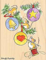 Christmas Mice Decorating, Wood Mounted Rubber Stamp PENNY BLACK - NEW, 4194K