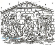 Christmas Nativity Scene, Wood Mounted Rubber Stamp NORTHWOODS - P7738