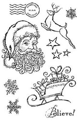 CHRISTMAS North Pole 9 Clear Unmounted Rubber Stamp Set Impression Obsession NEW