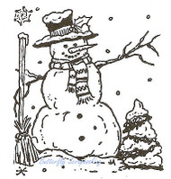 Christmas Oscar's Snowman Wood Mounted Rubber Stamp Northwoods Rubber Stamp New