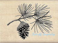 CHRISTMAS PINECONE BRANCH Wood Mounted Rubber Stamp by INKADINKADO 60-01133 NEW