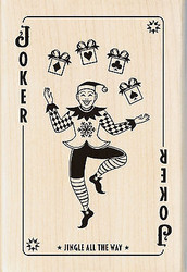 Christmas Playing Card Joker Wood Mounted Rubber Stamp by Inkadinkado NEW