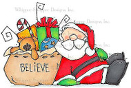 CHRISTMAS SANTA Cling Unmounted Rubber Stamp Whipper Snapper Designs CY915 NEW