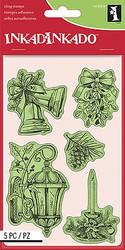 Christmas Set Cling Unmounted Rubber Stamp Set 5 Stamps INKADINKADO 60-60336 NEW