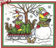 CHRISTMAS Sled SNOWMAN Family Wood Mounted Rubber Stamp NORTHWOODS P9884 New