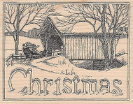 Christmas Sleigh Cover Bridge Wood Mounted Rubber Stamp IMPRESSION OBSESSION New