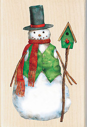 Christmas Snowman BirdHouse Wood Mounted Rubber Stamp Inkadinkado Tim Coffey NEW