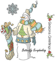 Christmas SNOWMAN Cling Unmounted Rubber Stamps Set AI Art Impressions 4518 NEW