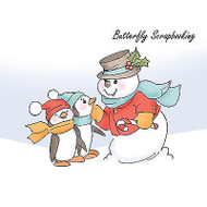 Christmas SNOWMAN Penguins Cling Unmounted Rubber Stamp Art Impressions 4172 NEW