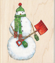 Christmas Snowman Shoveler Wood Mounted Rubber Stamp Inkadinkado Tim Coffey NEW