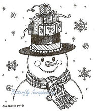 CHRISTMAS SNOWMAN Top Hat Gifts Wood Mounted Rubber Stamp NORTHWOODS M9880 New