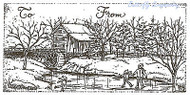 Christmas Tag Skaters Mill Wood Mounted Rubber Stamp Northwoods Rubber Stamp New