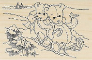 CHRISTMAS Teddy Bear Sled Snow Wood Mounted Rubber Stamp STAMPENDOUS P274 New