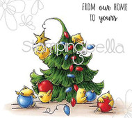 CHRISTMAS TREE CHICKS Set Cling Unmounted Rubber Stamp Stamping Bella EB321 NEW