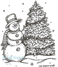 Christmas Tree Snowman Wood Mounted Rubber Stamp Northwoods Rubber Stamp New