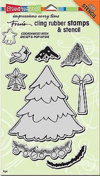 CHRISTMAS TREE Unmounted Cling Rubber Stamps Set Stampendous CRS5080 NEW