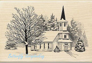 CHRISTMAS WINTER CHURCH Wood Mounted Rubber Stamp by INKADINKADO 60-01126 NEW
