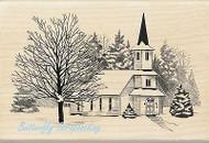 CHRISTMAS WINTER CHURCH Wood Mounted Rubber Stamp by INKADINKADO 60-01126 NEW