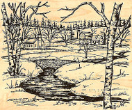 Church Farm Stream Scene Wood Mounted Rubber Stamp Northwoods Rubber Stamp New