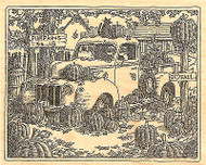 Classic Truck Harvest Scene Wood Mounted Rubber Stamp Impression Obsession NEW
