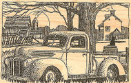 Classic Truck, Wood Mounted Rubber Stamp IMPRESSION OBSESSION - NEW, G1866