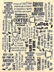Coffee Background Text Wood Mounted Rubber Stamp STAMPENDOUS Stamp R198 NEW