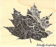 Collage Leaf #5, Wood Mounted Rubber Stamp IMPRESSION OBSESSION - NEW, E13062