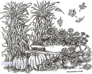 Cornstalks Pumpkins & Wheelbarrow, Wood Mounted Rubber Stamp NORTHWOODS - P9197
