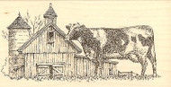 Country Cow Barn Farm Wood Mounted Rubber Stamp Impression Obsession F1326 NEW
