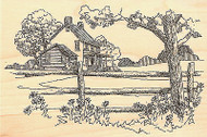 Country House Scene, Wood Mounted Rubber Stamp IMPRESSION OBSESSION - NEW, F1730