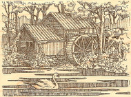 Country Water Mill with Swan Wood Mounted Rubber Stamp Impression Obsession NEW